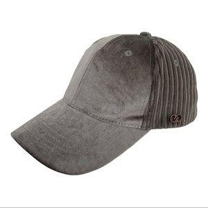 Calia Velvet Striped Baseball Hat Silver Grey